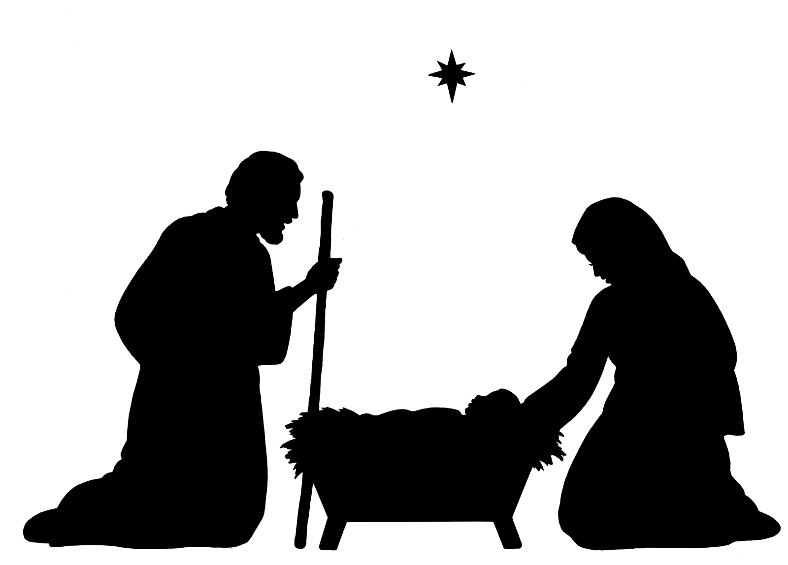 Star Silhouette Of Holy Family Christmas Decoration