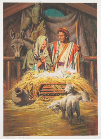 An illustration of Mary and Joseph smiling while looking at the baby Jesus in a manger, with sheep and a donkey nearby.