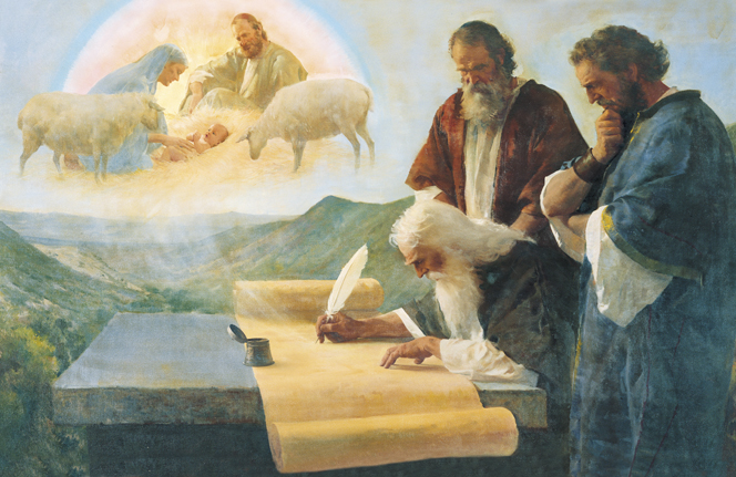 Two men observing the prophet Isaiah, who is writing on a long scroll while envisioning the Nativity scene.