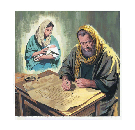 A painting of a prophet writing down his prophecy of Christ's birth.