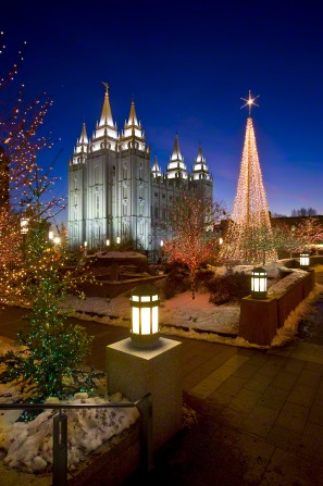 Temple Square covered in Christmas lights during the Christmas season.
