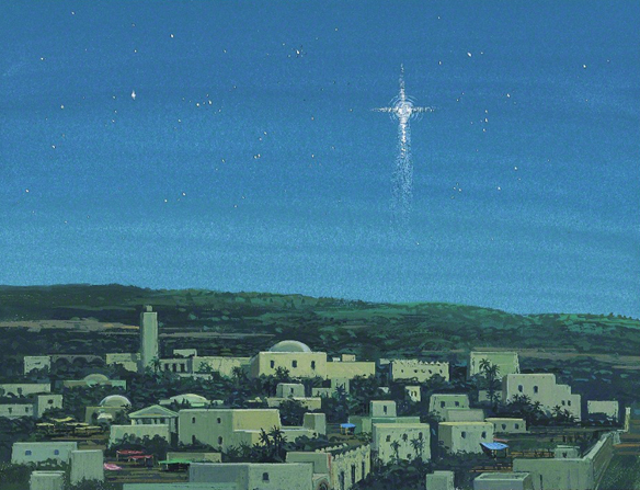 A painting of a new star over Bethlehem at night.