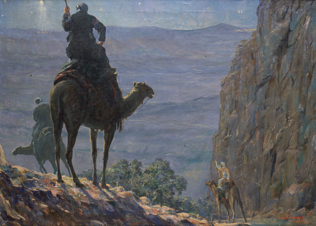 A painting of the Wise Men on camels following the new star.