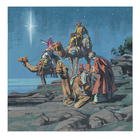 An illustration of the three Wise Men on camels, looking up at a new star in the night.