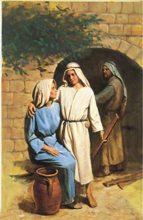 Young Jesus in white robes, standing next to His mother, Mary, and putting His arm around her while Joseph looks on in the background.