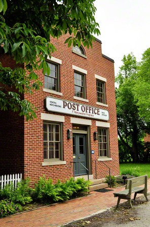 The two-story red-brick post office in Nauvoo.