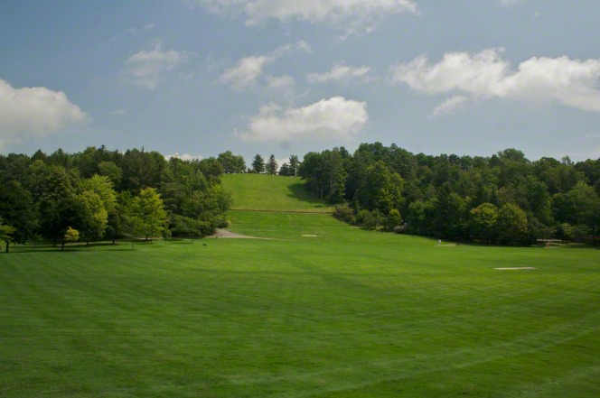 Green grass and trees on Hill Cumorah.