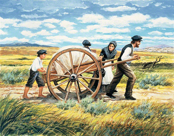 A painting by Olinda H. Reynolds of a mother and father pulling the front of a handcart  with a boy pushing from behind and a child riding inside.