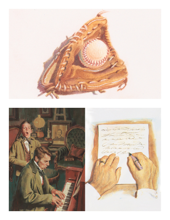 Three images combined: a baseball and mitt, hands writing a letter, and a young man standing near a piano and singing.