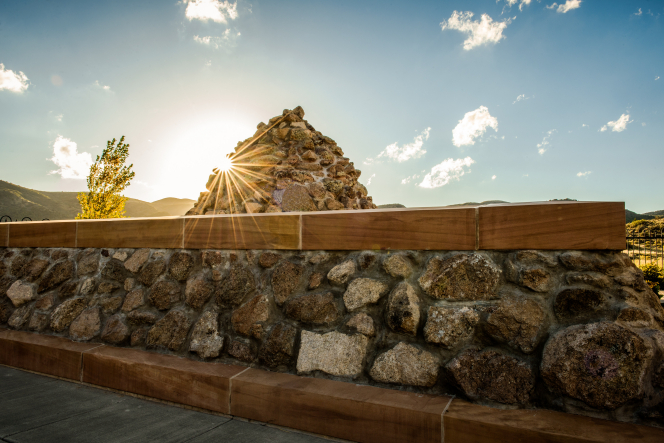 A cairn-style monument built at the site of the Mountain Meadows Massacre in Utah.
