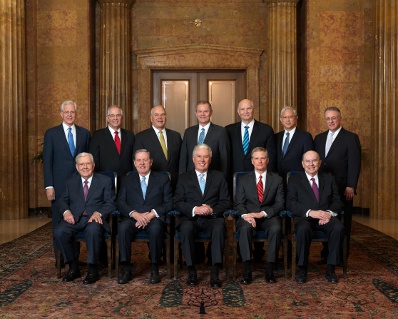 The official group portrait of the Quorum of the Twelve Apostles.
