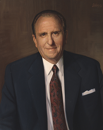 A painted portrait by Knud Edsberg of President Thomas S. Monson in a blue suit and red tie.
