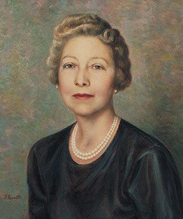 A painted portrait by Dean Fausett of Adele Cannon Howells against a blue and green background, wearing a dark blue-green dress and pearls.