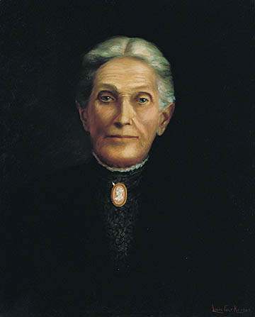 A portrait of Aurelia Spencer Rogers against a black background, wearing a black dress with a high collar and a brooch.