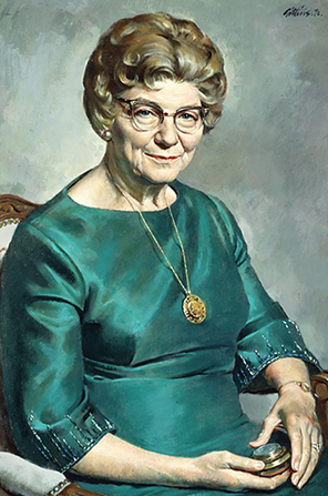 A painted portrait by Alvin Gittins of LaVern Watts Parmley against a gray background, sitting in an upholstered chair, wearing a teal dress and a gold necklace.