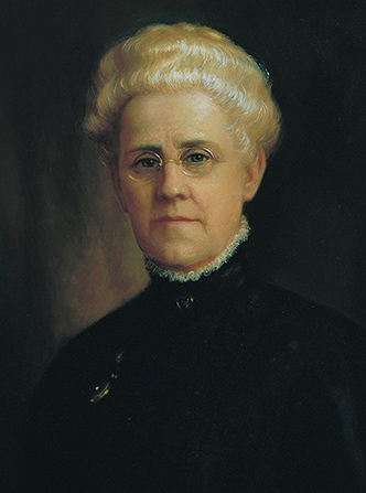 A painted portrait by Lewis A. Ramsey of Louie Bouton Felt against a black background, wearing a black dress with a high collar.