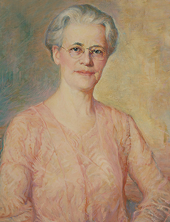 A painted portrait by Lewis A. Ramsey of May Anderson against a yellow and blue background, wearing a peach-colored dress.