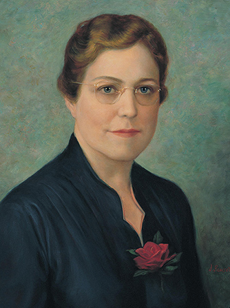 A painted portrait by Dean Fausett of May Green Hinckley against a blue-green background, wearing a dark blue blouse, with a red rose in her collar.