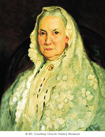 A painted portrait by Lee Greene Richards of Bathsheba W. Smith against a black background, wearing a white dress with a white shawl over her head.