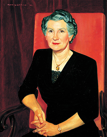 A painted portrait by Alvin Gittins of Belle Smith Spafford against a red background, sitting in a red chair, wearing a black dress and gold necklace.