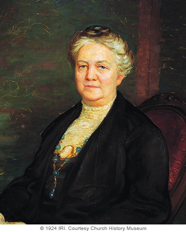 A painted portrait by Lee Greene Richards of Clarissa Smith Williams against a green and red background, sitting in a red chair, wearing a black dress and shawl.