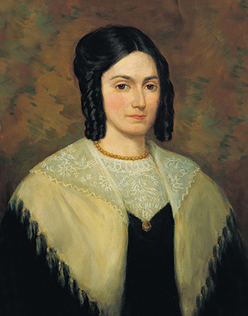 A painted portrait by Lee Greene Richards of Emma Hale Smith in a black dress and a white shawl.