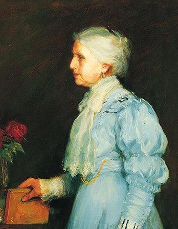 A painted portrait by Lee Greene Richards of Emmeline B. Woodward Wells against a dark brown background, wearing a blue dress and white scarf, with a rose in the background.