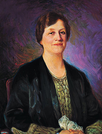 A painted portrait by John Willard Clawson of Louise Yates Robison against a purple background, wearing a green dress and a black jacket.