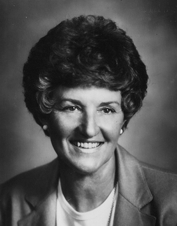 A photograph of Elaine Anderson Cannon wearing a blazer. The image is in black and white.