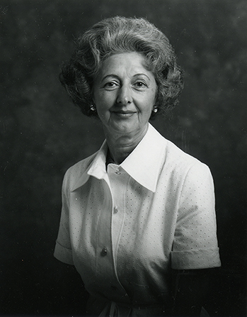 A black-and-white photograph of Florence Smith Jacobsen wearing a white blouse.