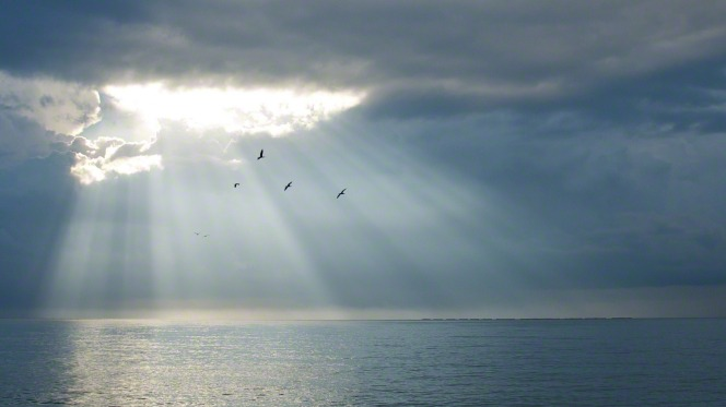 A thick layer of gray clouds spread out over the ocean, with sun rays breaking through a hole in the clouds.