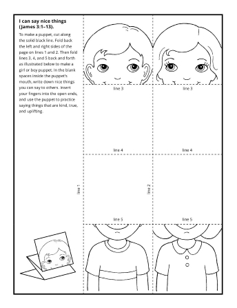A puppet activity illustrated with a boy and a girl, with space between their heads and bodies.
