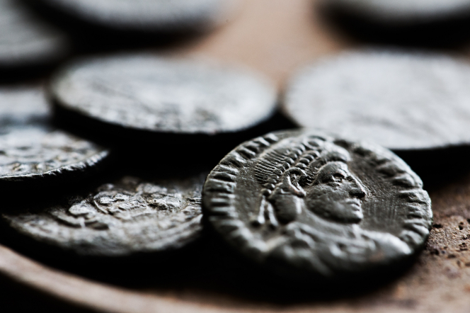 A close-up of ancient coins.