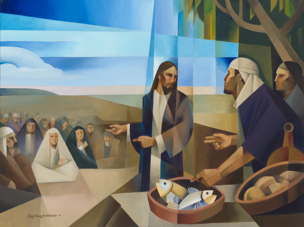 A painting of Jesus Christ telling His Apostles to feed the multitude with loaves and fishes.c
