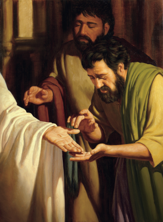 A painting of two Apostles looking at the wounds in Jesus's hands and feet after He was resurrected.