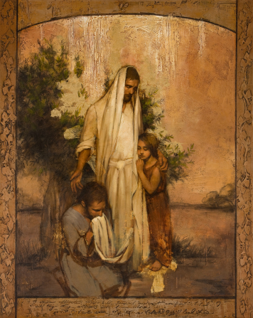 A painting of Christ in white with a shawl covering His head, standing by a small tree. A young girl in a brown tunic is at His side, and a young man with a beard is kneeling at His feet.