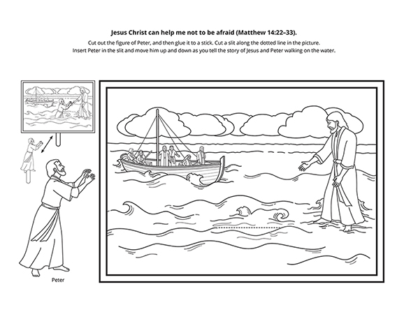 A black-and-white illustration of Christ walking on water toward the boat with His Apostles.