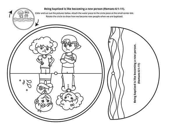 A line-art drawing of a girl and boy with sad and happy faces, demonstrating becoming a new person through baptism.