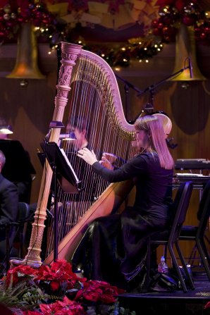 A woman with brown hair and a black dress playing a harp in the Christmas concert in 2008.