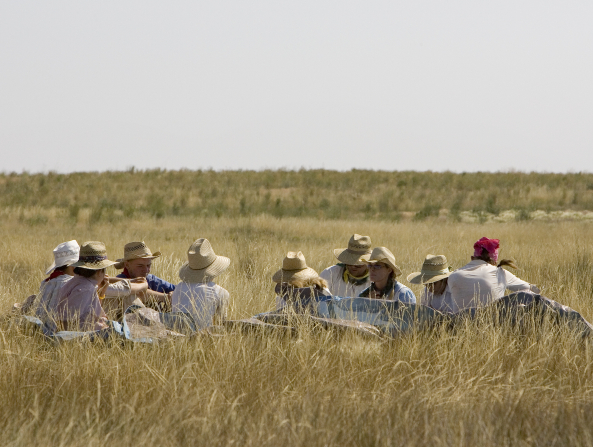 Nine men and women wearing hats all sit together in a grassy field and rest during trek.