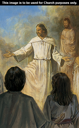 A painting of Christ preaching to several people in white robes.