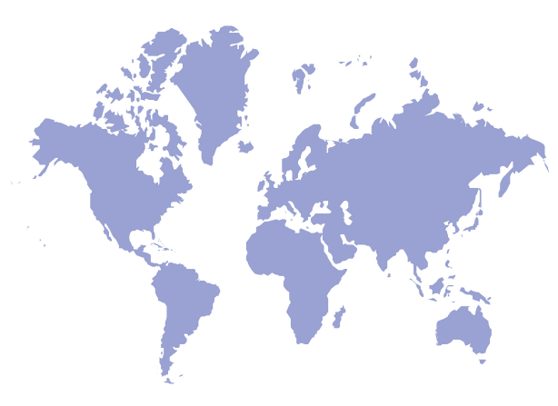 A light purple silhouette of a world map.