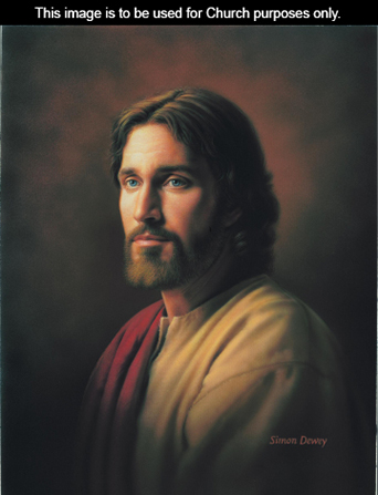 A painting of Christ wearing a white and red robe.