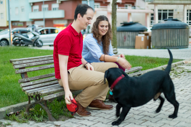 A young couple from Portugal sits on an old wooden bench while playing with a black dog with a red collar.