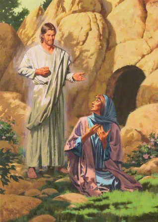 An illustration showing Mary kneeling on the ground outside of the empty tomb while Christ approaches her, wearing a white robe.