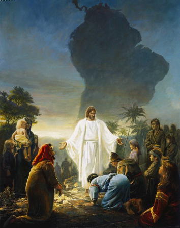 Jesus Christ standing outside in white robes, with hands outstretched to a group of people who are gathering around to see.