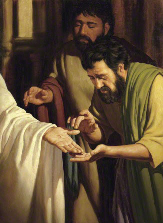 A painting showing two Apostles looking intently at the nail wound in the palm of one of Christ's hands.