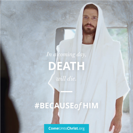 """An image of Christ in the tomb coupled with the text: """"In a coming day, death will die."""""""
