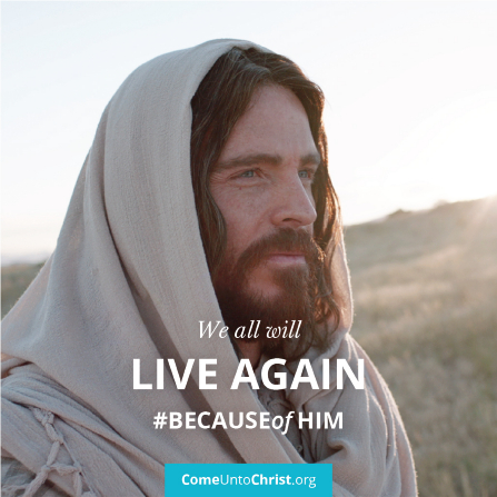 """An image of Christ coupled with the text: """"We all will live again. #becauseofhim"""""""