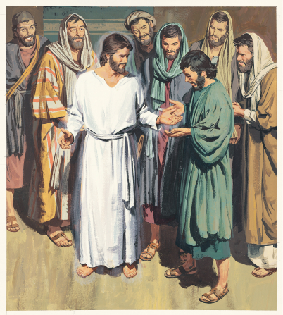 An illustration of Christ after His Resurrection, surrounded by seven of His Apostles, showing them the nail prints in His hands.